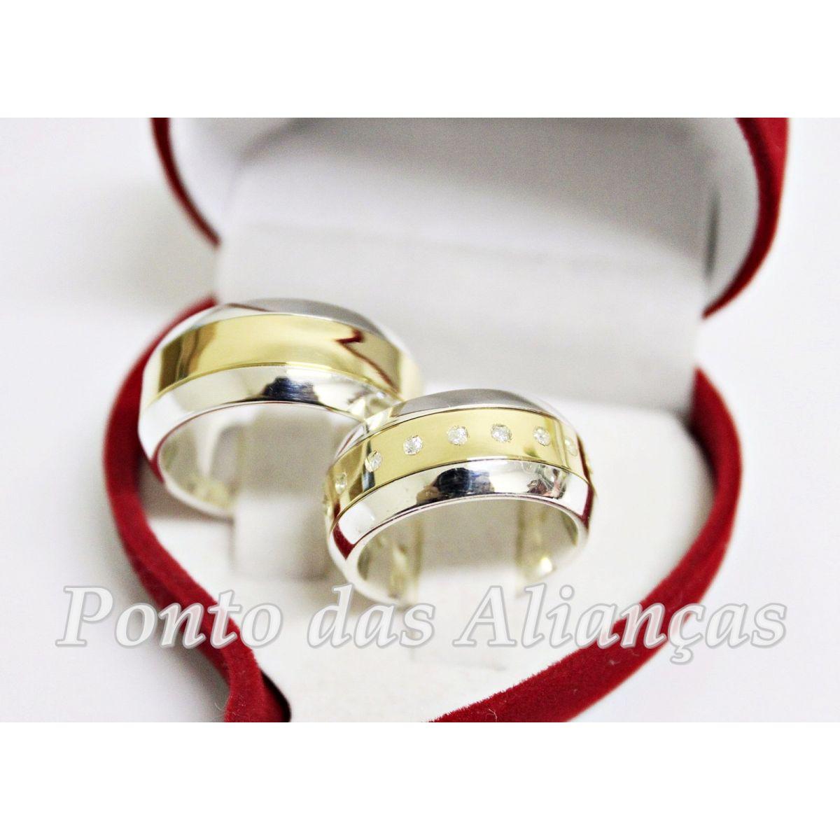 Alianças de Ouro e Prata  Casamento ou Noivado - 3030