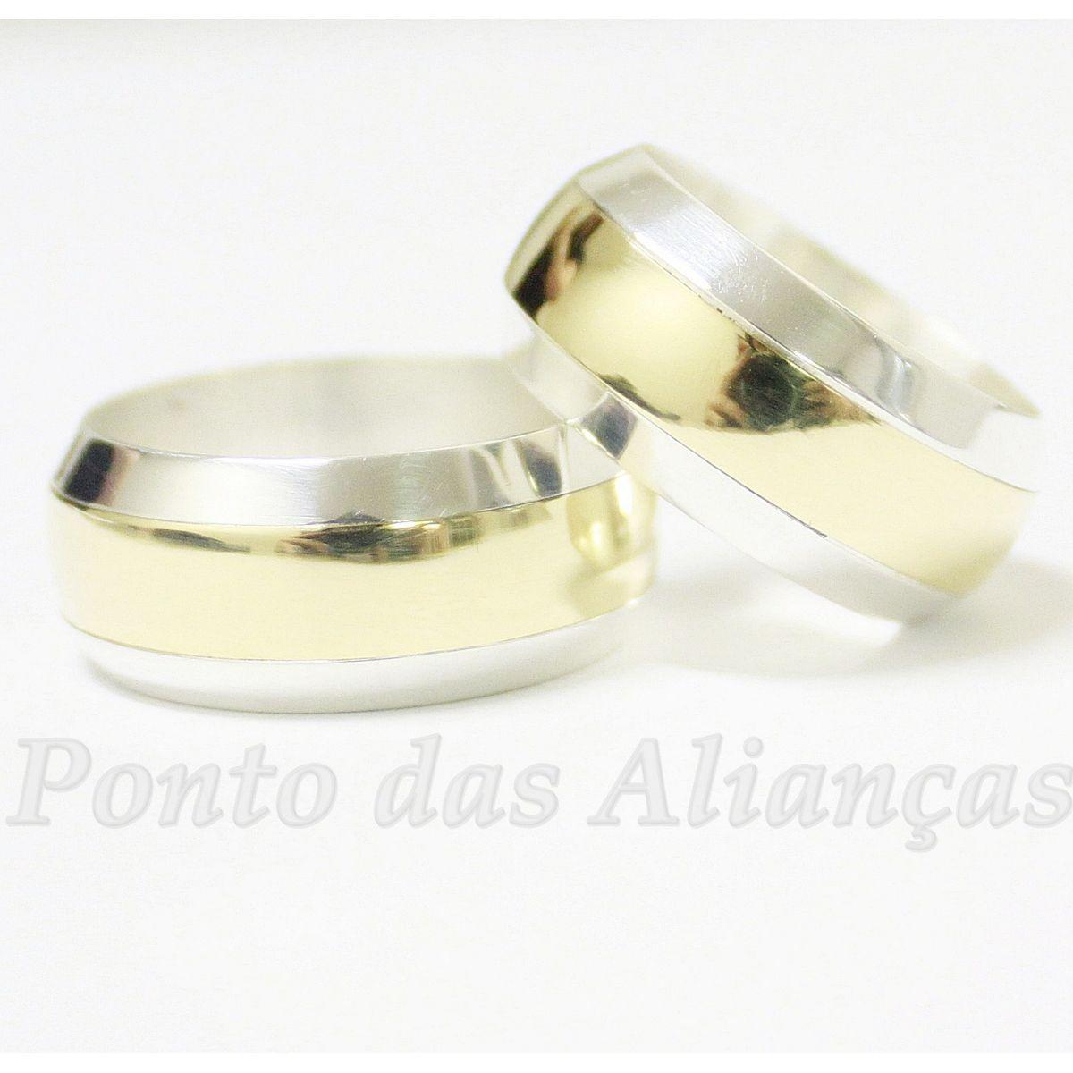 Alianças de Ouro e Prata Casamento ou Noivado - 530