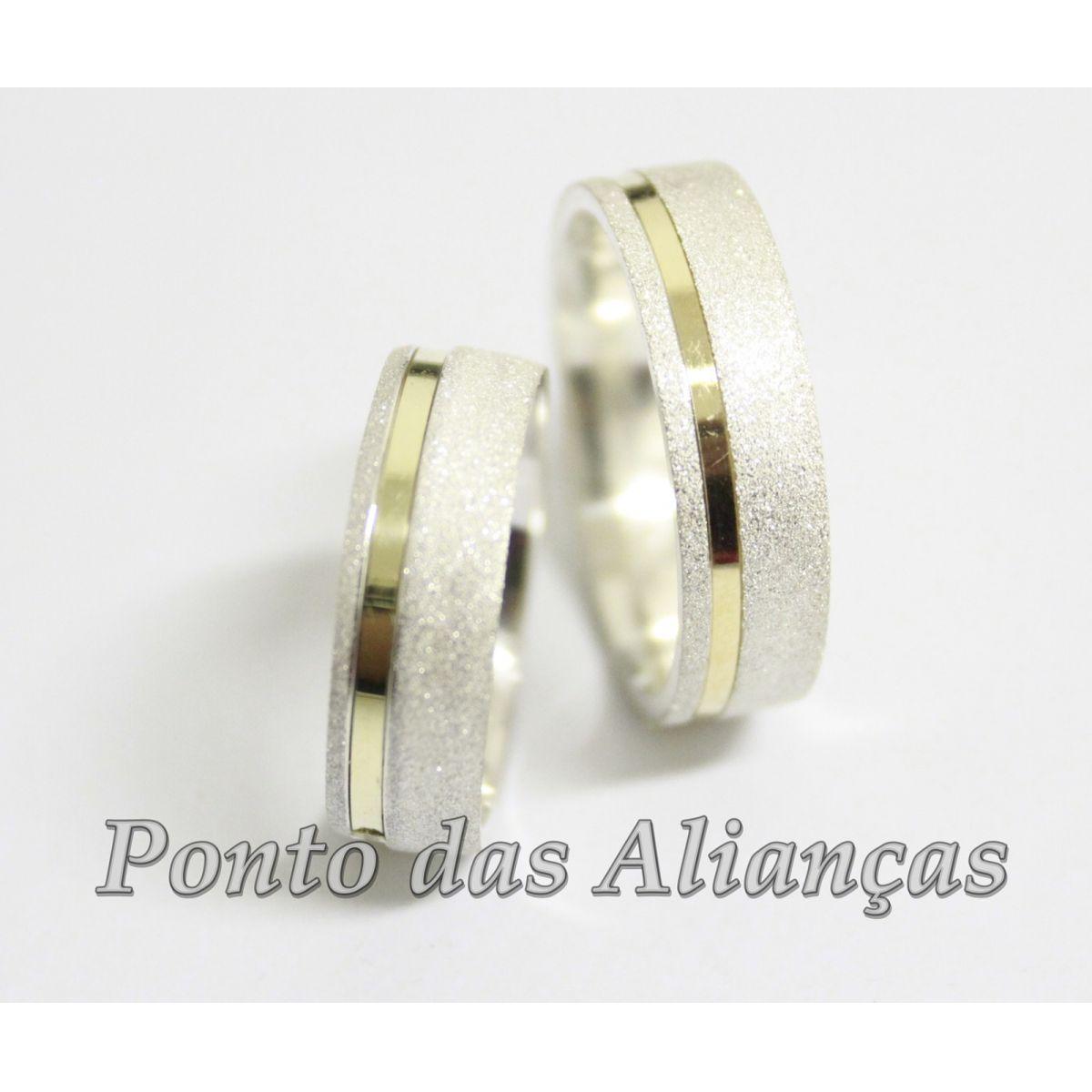 Alianças de Ouro e Prata Casamento ou Noivado - 545