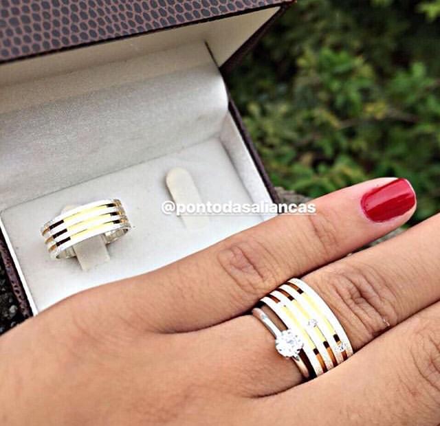 Alianças de Ouro e Prata Casamento ou Noivado - 547