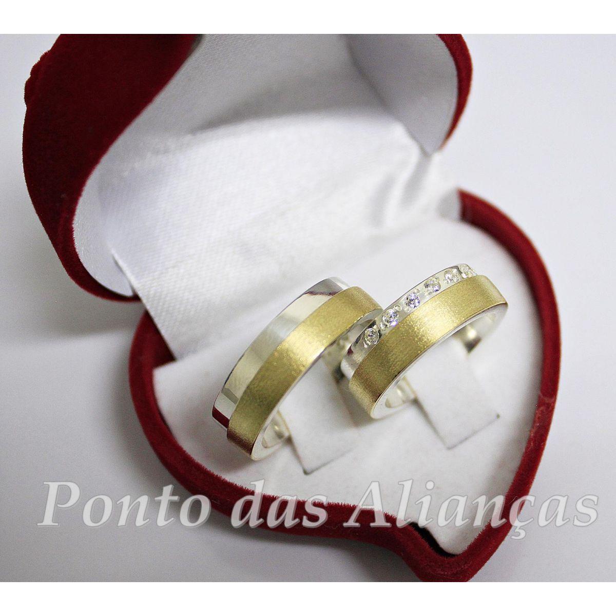 Alianças de Ouro e Prata Casamento ou Noivado 572