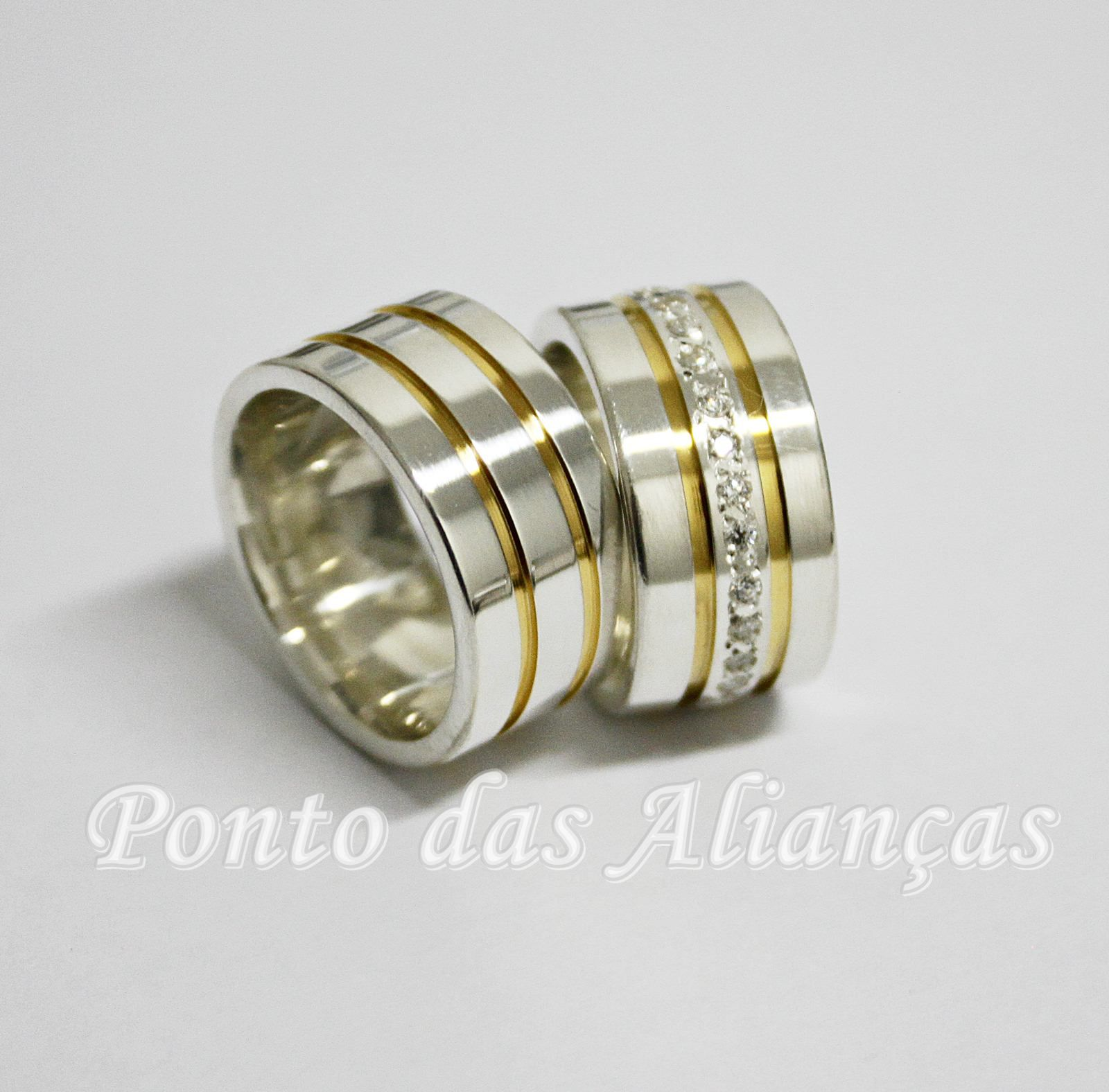 Alianças de Prata Banhada a Ouro - 3115