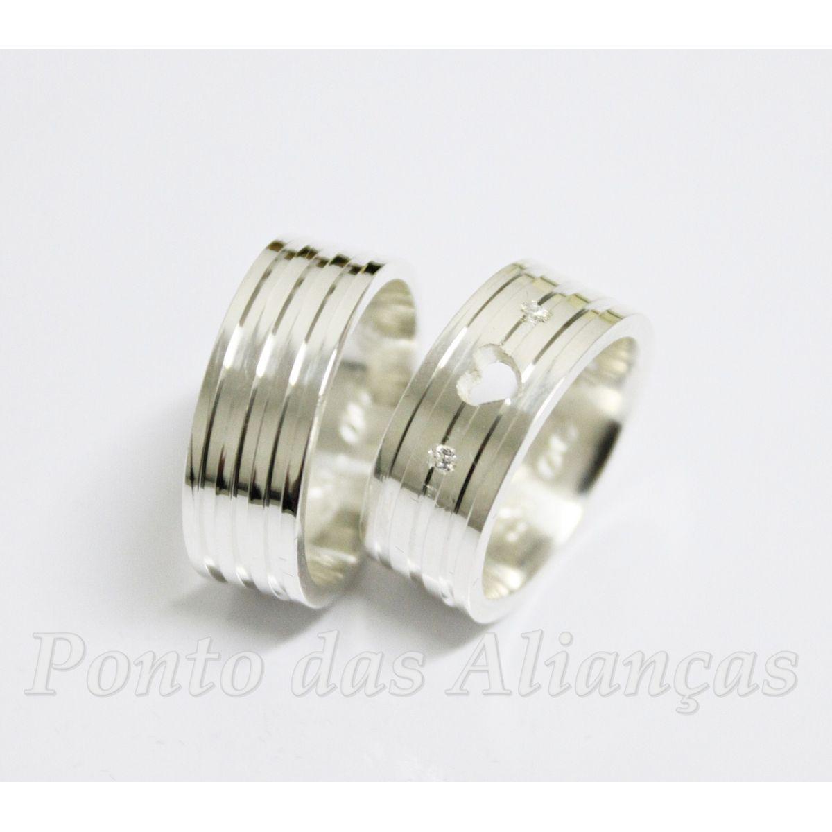 Alianças de Prata Compromisso - 3052