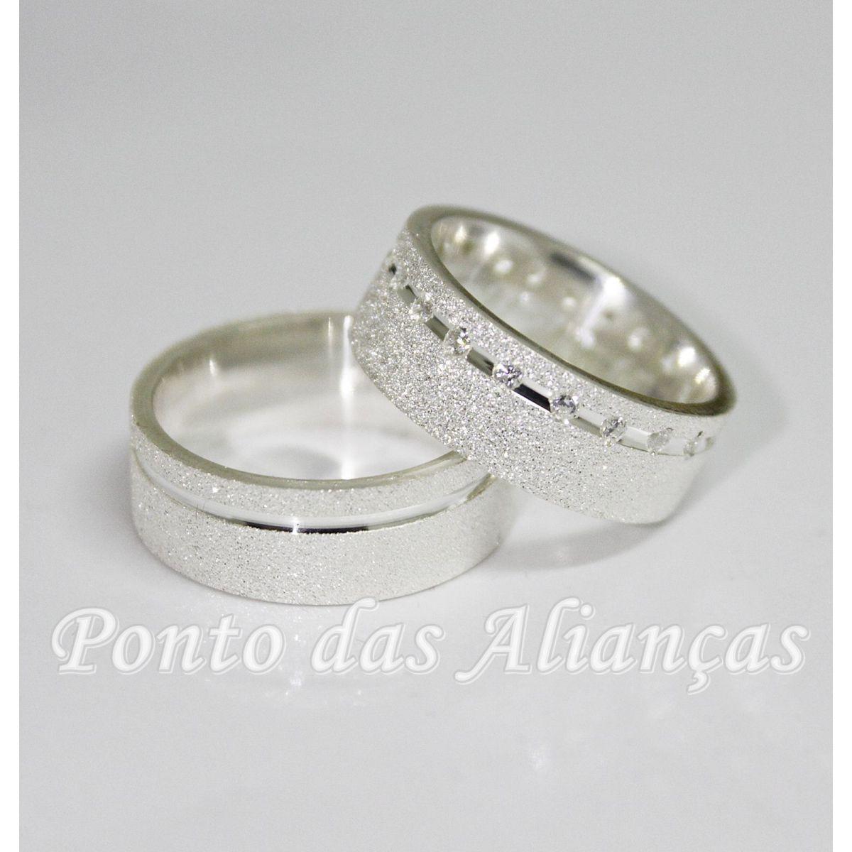 Alianças de Prata Compromisso - 3074