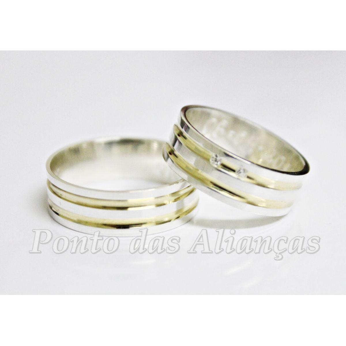 Alianças de Prata Compromisso - Noivado 3008