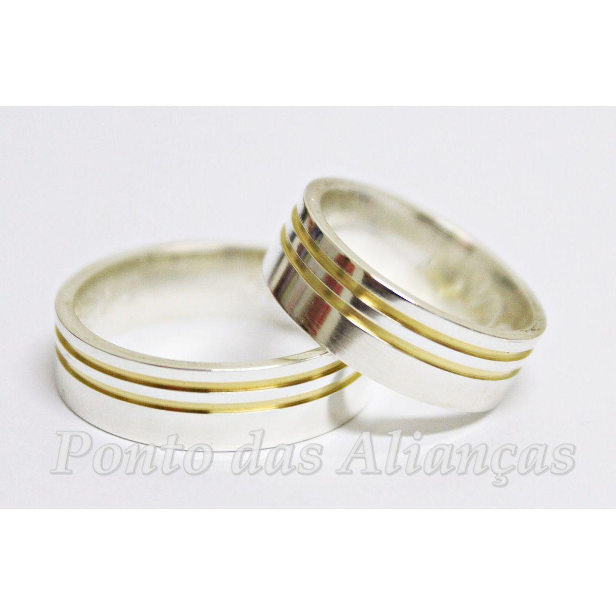 Alianças de Prata Compromisso - Noivado - 3022