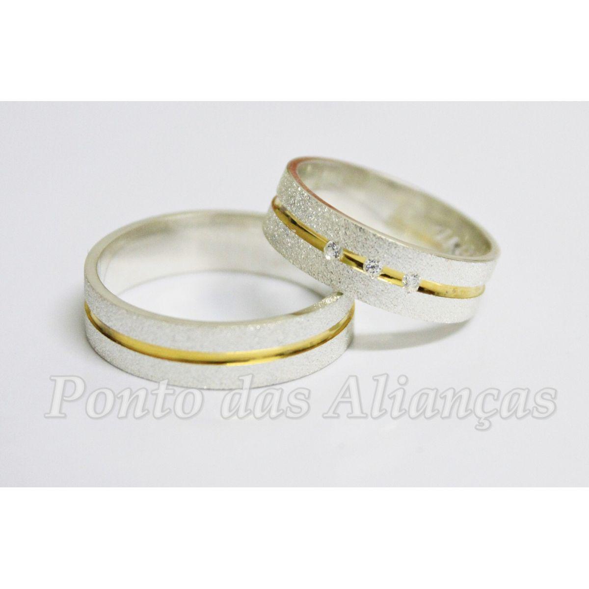 Alianças de Prata Compromisso - Noivado  -3033