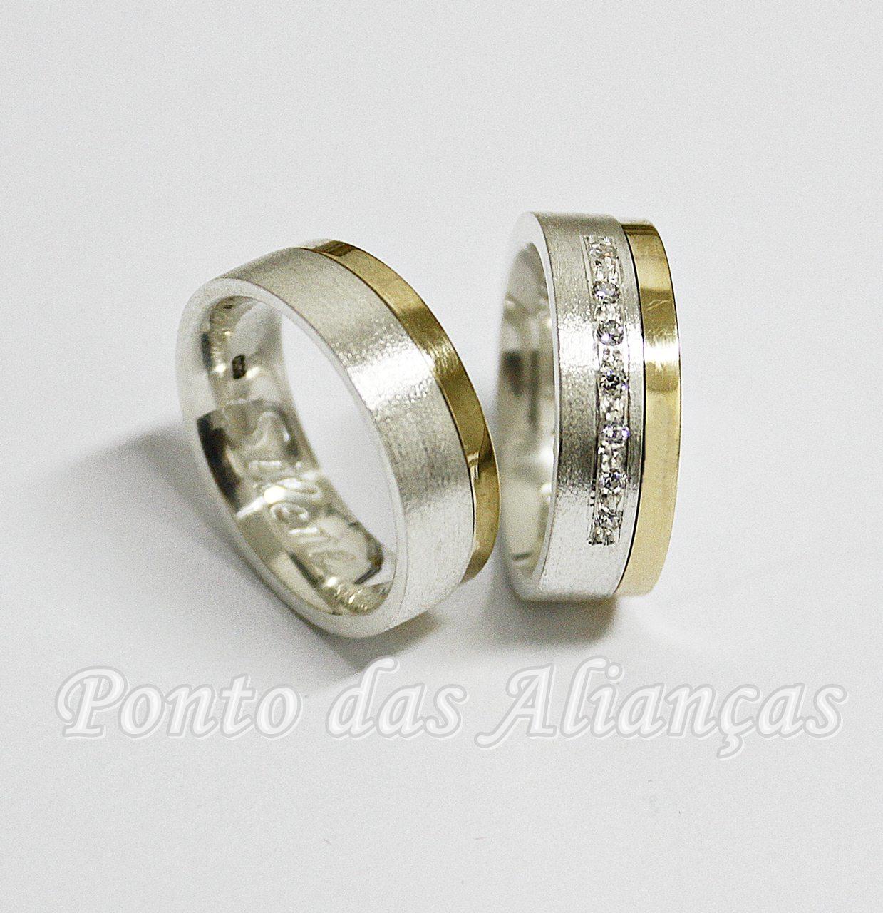 Alianças de Prata Compromisso - Noivado  - 3100