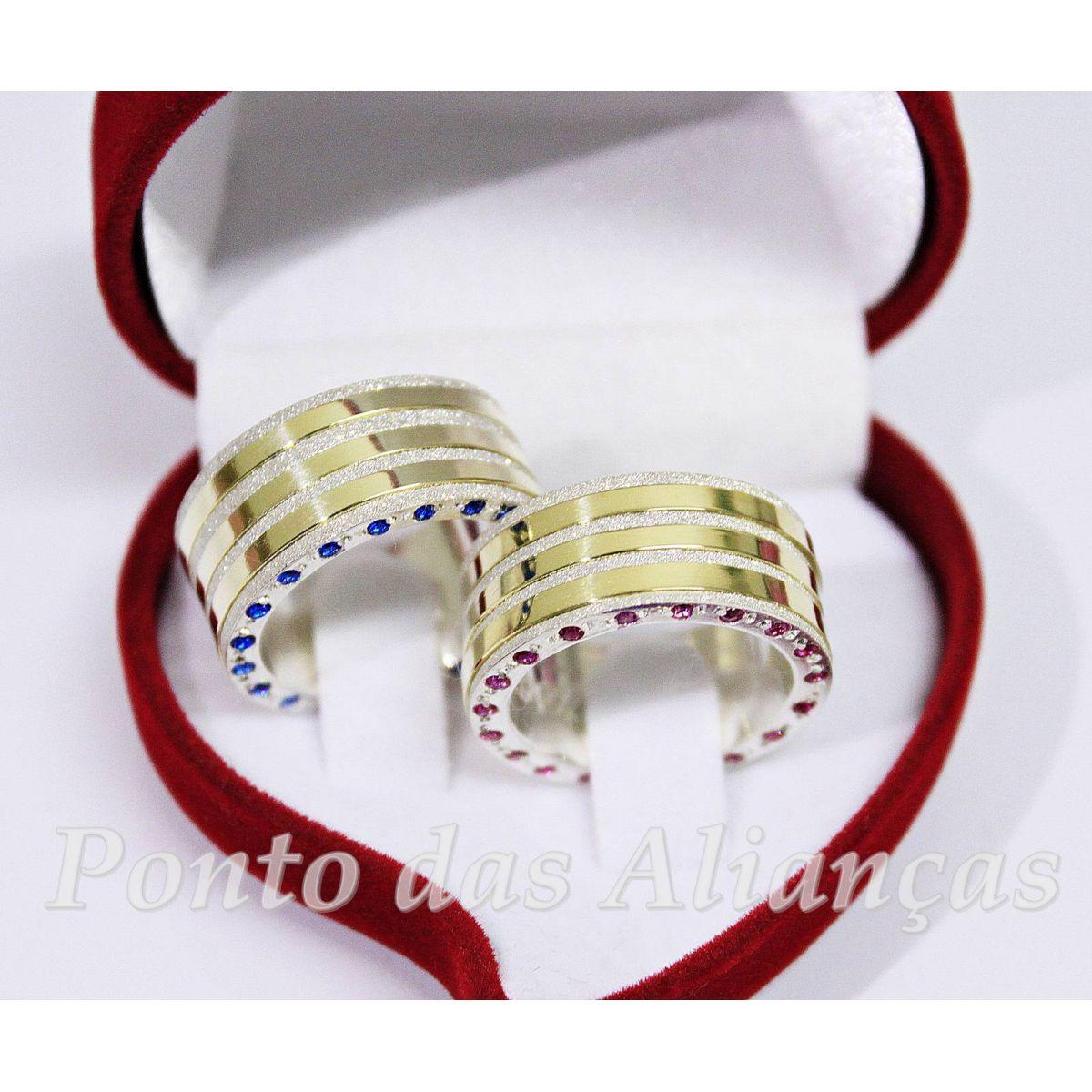 Alianças de Prata e Ouro Casamento Noivado  - 3041