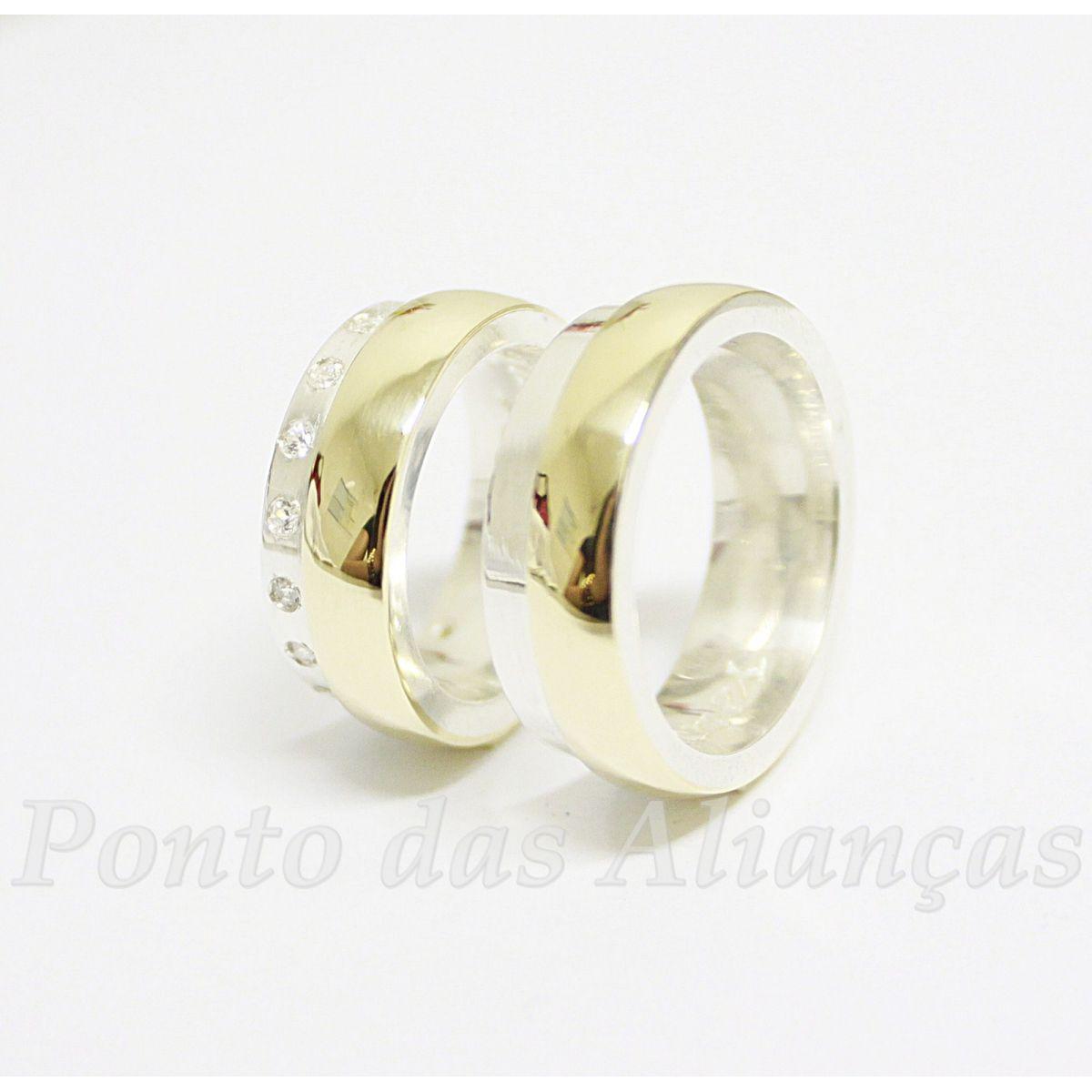 Alianças de Ouro e Prata Casamento ou Noivado - 534