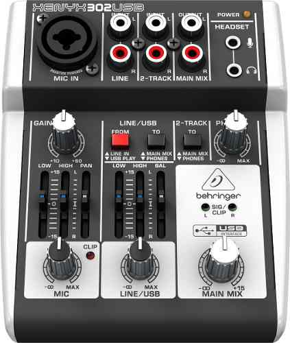 Mesa De Som / Interface de Áudio  Behringer Xenyx 302 Usb