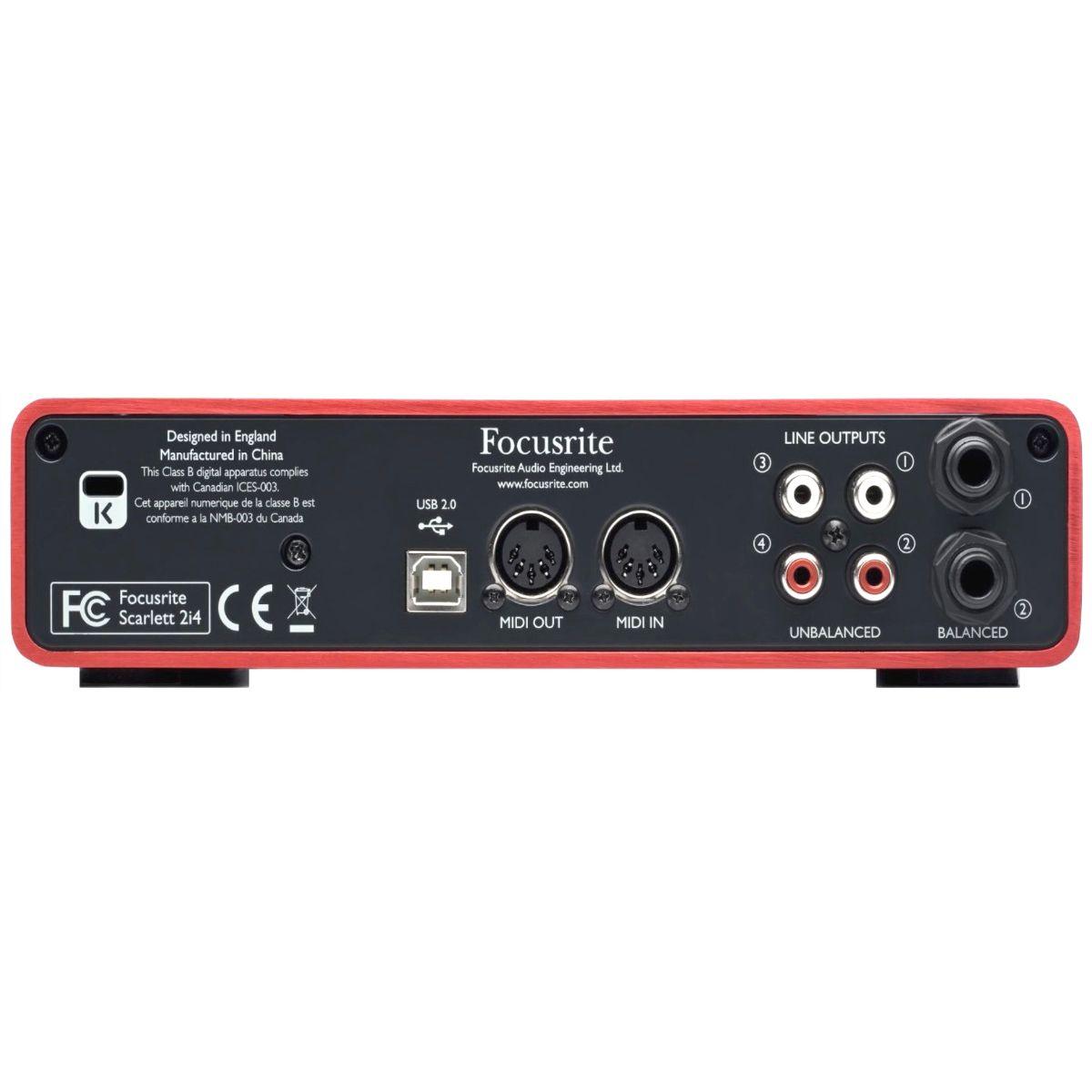 Interface De Áudio Focusrite Usb Scarlett 2i4 2a Geração