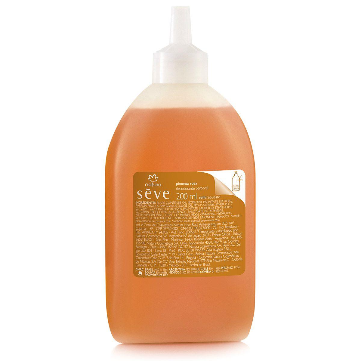 Refil Óleo Desodorante Corporal Natura Sève Pimenta Rosa 200ml