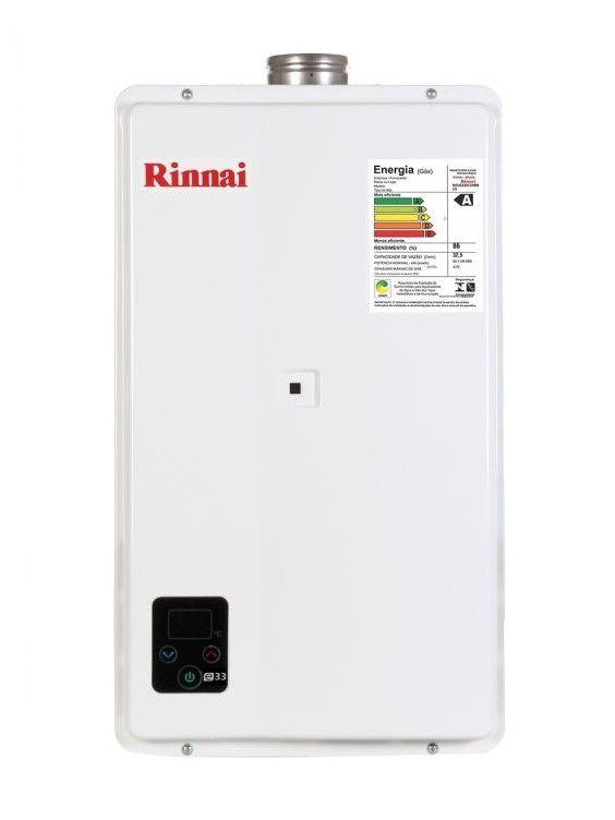 Aquecedor de Água Rinnai E27 Digital - Vazão 27 Litros - Branco - Gás Natural - GN