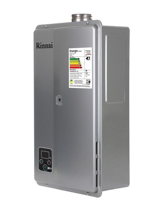 Aquecedor de Água Rinnai E33 Digital - Vazão 32,5 Litros - Prata - Gás GN