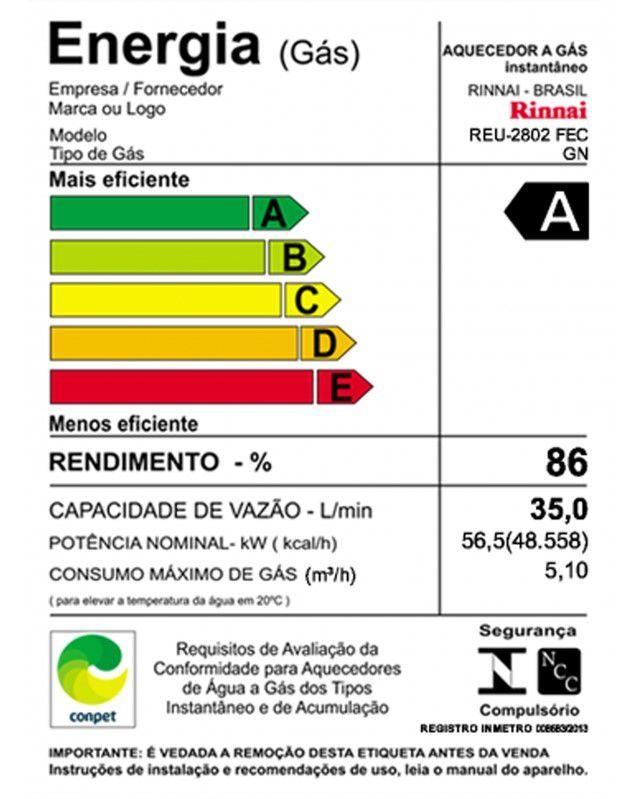 Aquecedor de Água Rinnai REU 2802 FEC Digital - Vazão 35 Litros - Branco - Gás GN