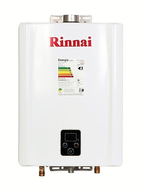 Aquecedor de Água Rinnai E17 Digital - Vazão 17 Litros - Branco - Gás GN