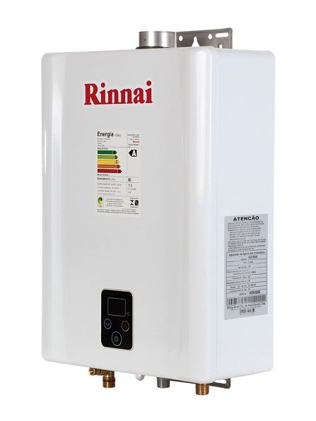 Aquecedor de Água Rinnai E21 Digital - Vazão 21 Litros - Branco - Gás Natural - GN