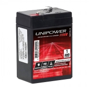 Bateria 6V 4.5Ah Selada para Brinquedos Centrais de Alarme Balanças Iluminação VRLA Unicoba Unipower UP645SEG