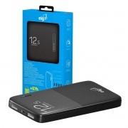 Bateria Portátil Universal 12.500mAh 2 USB Carga Rápida Power Bank Homologado Anatel + Cabo Micro USB ELG PB125BK Preto