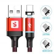 Cabo para Carregar Celular com Pontas Magnéticas Micro USB V8 + USB Tipo C + Lightning 2.4A 1 metro SX-B16-3 Vermelho