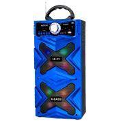 Caixa de Som Bluetooth 12W com DJ Led Rádio FM Entrada SD USB Karaokê Exbom CS-M481BT Azul
