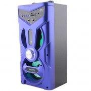 Caixa de Som Bluetooth Torre com Visor 12W com DJ Led FM Entrada SD USB Microfone Azul Exbom CS-M264BT