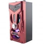 Caixa de Som Bluetooth Torre com Visor 12W com DJ Led FM Entrada SD USB Microfone Karaokê Vermelha Exbom CS-M264BT
