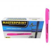 Caneta Marca Texto Rosa com Ponta Chanfrada Masterprint MP612 Pincel MP 612 / Caixa com 12 Unidades