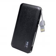 Carregador Portátil 9000mAh com Cabo de Conexão Micro USB V8 Power Bank WST DP622A Preto