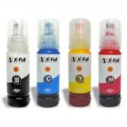 Compatível: Kit Colorido 4 Cores de Tinta Corante X-Full Ultra para uso em Impressoras Epson Série L504/544 Refil 4x70ml