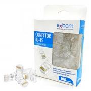 Conector RJ-45 8x8 CAT5E Suporte Gigabit Ethernet Exbom CONT-RJ45P100 / Caixa com 100 Unidades