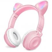 Headphone Gatinho com Bluetooth 5.0 Dobrável Iluminação LED em 8 Cores Microfone Embutido Exbom HF-C290BT Rosa