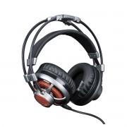 Headset Gamer Extreme 7.1 Surround com Microfone LED Laranja Drivers 50mm Cabo 2,2 Metros para PC PS4 ELG HGSS71
