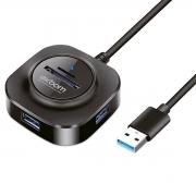 HUB USB 5 em 1 com 3 Portas USB 3.0 + 1 Leitor de Cartão microSD + 1 Leitor de Cartão SD Exbom UH-R33