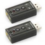 Kit 2x / Adaptador de Som USB 2.0 Externo 7.1 Canais Exbom USOM-10 / Placa de Som USB