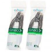 kit 2x / Cabo Extensor USB 2.0 AM+AF OD4.8 com Filtro 3 metros Exbom CBX-U2AMAF30 Preto