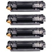 Kit 4x / Toner Compatível HP 435A 436A 285A / P1102W P1102 P1109W P1109 M1132 M1212 P1005 P1505 1132 / Preto / 1.800