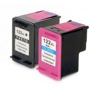 Kit Cartucho de Tinta Compatível HP 122xl 122 Preto 12ml + Colorido 11ml / Deskjet 1000 1050 1055 2000 2050 3000 3050A