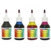 Kit Colorido 4 Cores / Tinta Corante para Epson série L XP TX CX / L355 L365 L375 / com Bico Aplicador / Refil 100g cada