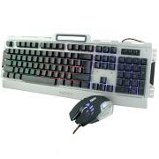 Kit Gamer Teclado e Mouse Semimecânico com Iluminação Led e Acabamento em Metal Exbom BK-G3000 Prata