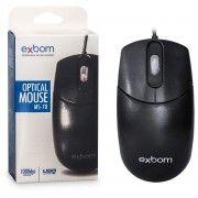 Mouse USB Óptico 1000 DPI Office Preto Exbom MS-70