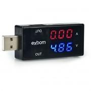 Testador e Medidor de Voltagem e Amperagem para Porta USB Exbom UTS-S1