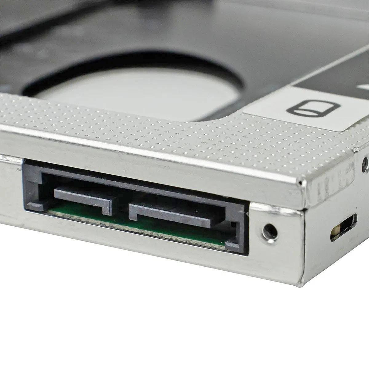 """Adaptador Caddy de 12.7mm Bandeja Interna Substitui Drive de DVD por Segundo HD ou SSD 2.5"""" SATA Exbom HDCA-S127"""