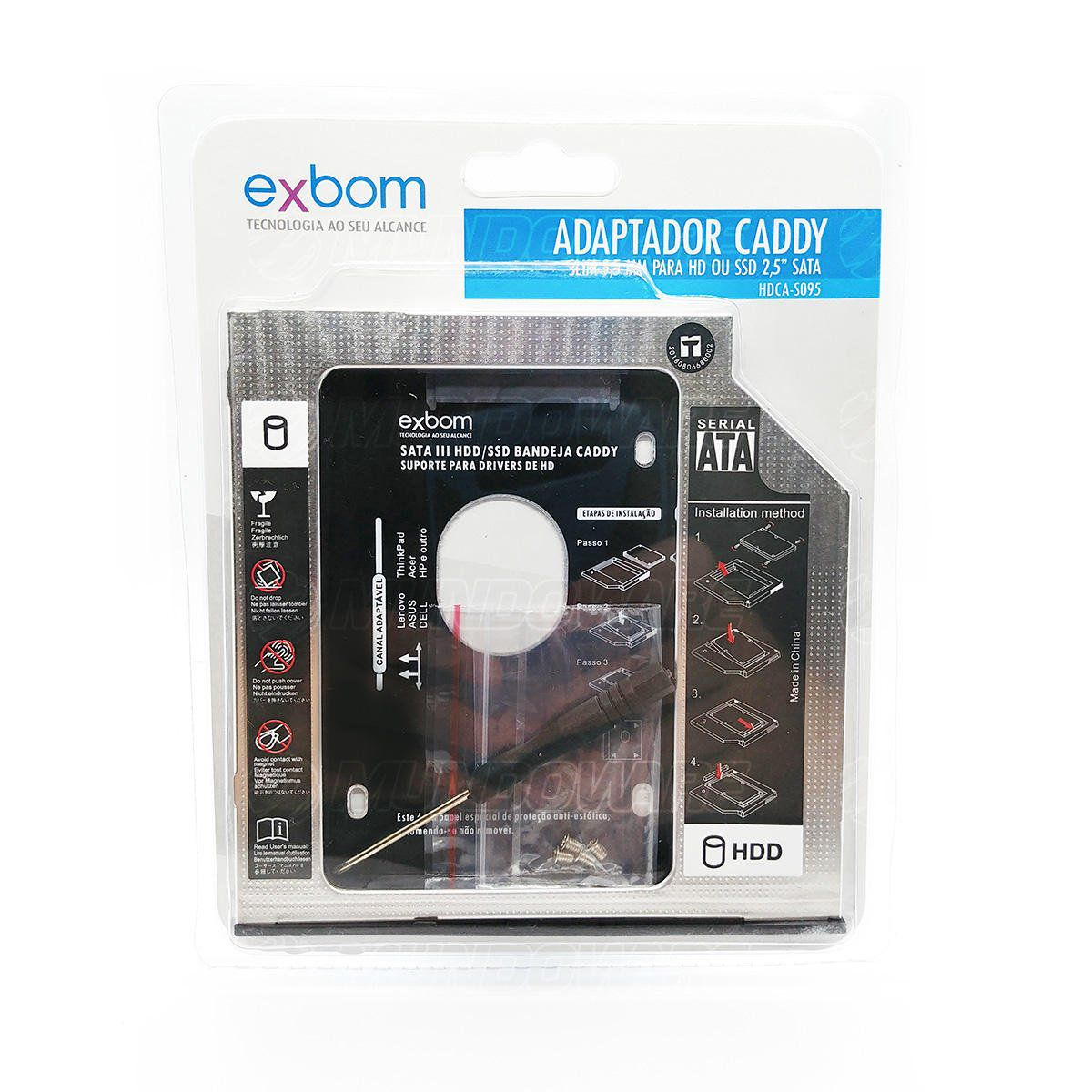 "Adaptador Caddy de 9.5mm Bandeja Interna Substitui Drive de DVD por Segundo HD / SSD 2.5"" SATA Exbom HDCA-S095"