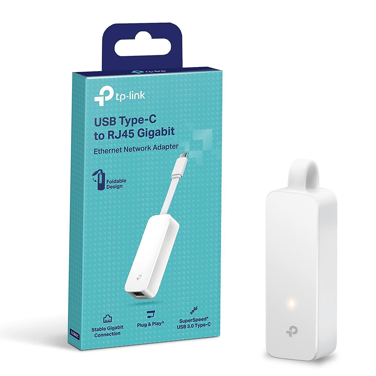 Adaptador de Rede USB Tipo C para RJ45 Ethernet Gigabit 10/100/1000 Mbps TP-Link UE300C