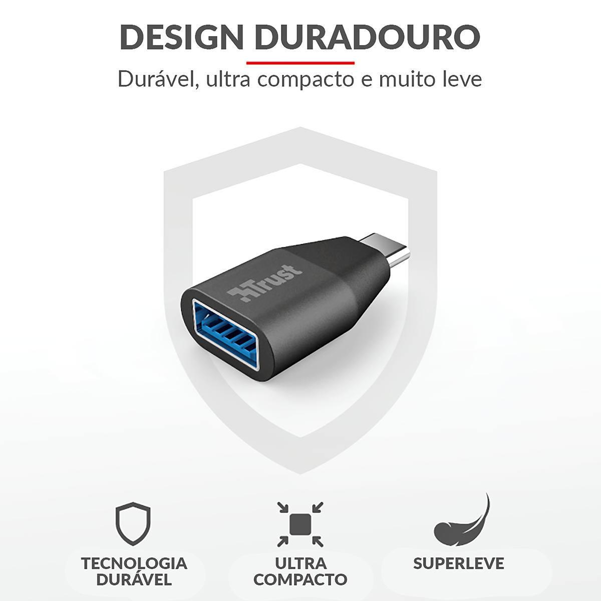 Adaptador USB Tipo-C para USB 3.1 Tipo A Ultra Compacto Trust Calyx