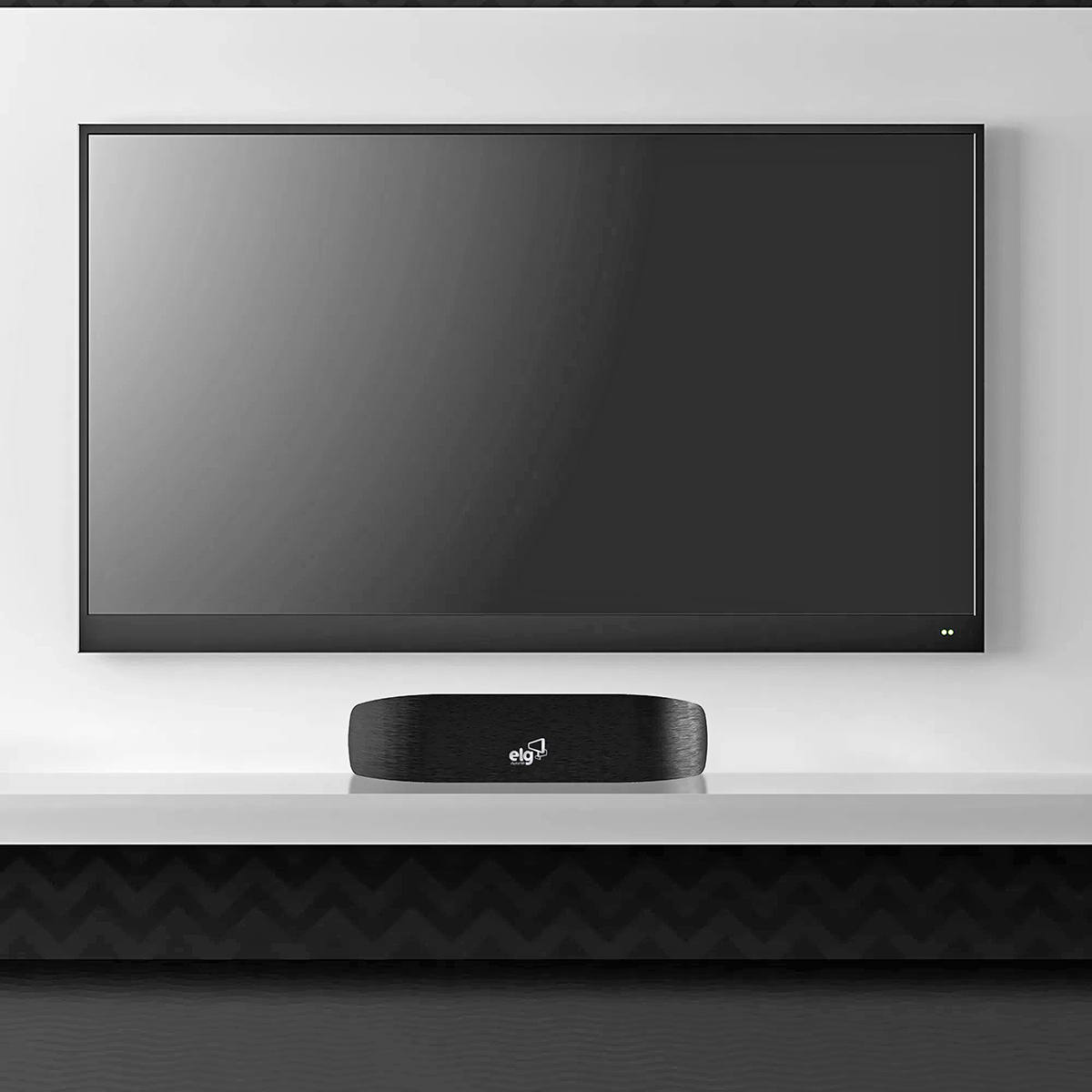 Antena Digital 4K HDR HDTV UHF VHF Interna Alcance 40Km Recepção Omnidirecional Alta Definição Cabo 2,5m ELG HDTV4500BK