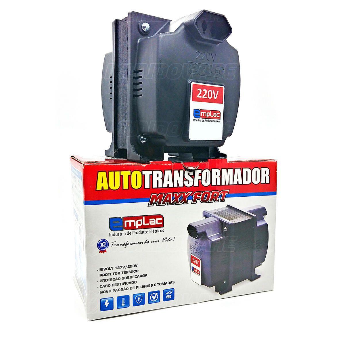 Auto Transformador 2000VA 1400W Bivolt Tomada 10A com Protetor Térmico e Proteção Contra Sobrecarga Emplac F30009