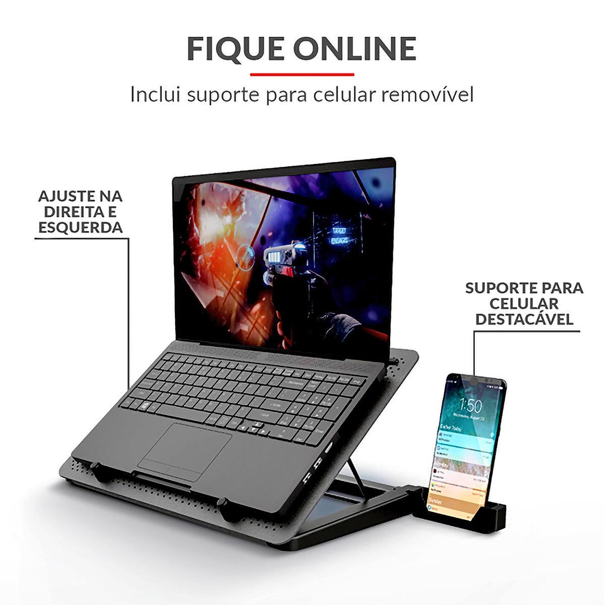 Base para Notebook com 5 Coolers LED Azul 5 Níveis de Ajuste de Altura e Suporte para Celular Trust GXT 1125 Quno